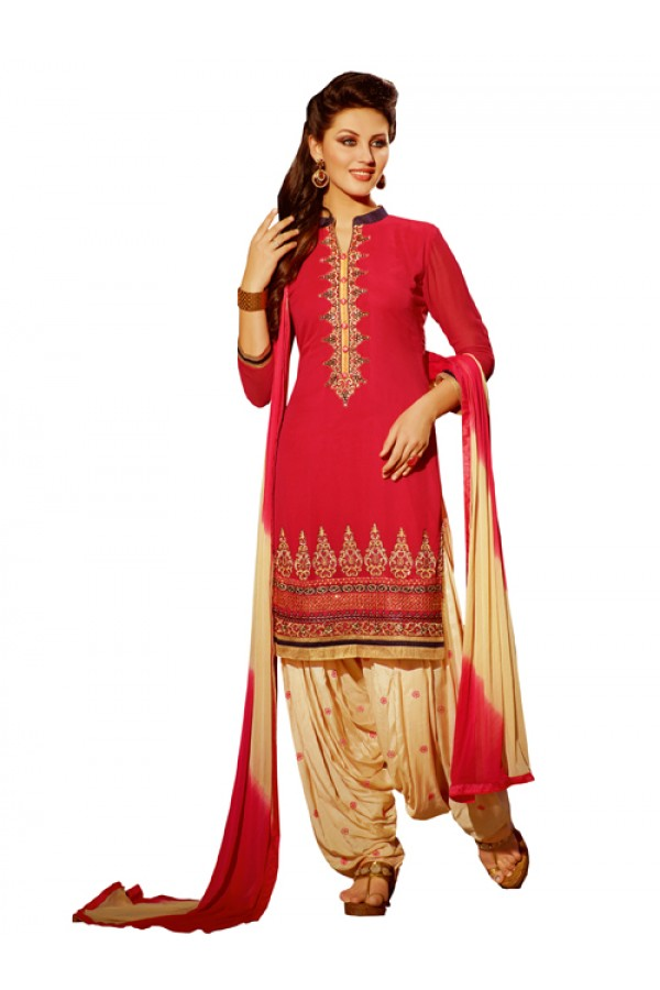 Party Wear Red Georgette Patiala Suit - ZPH4657
