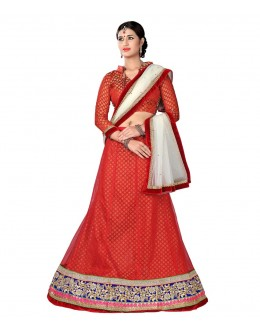 Designer Style Red Net Lehenga Choli - 115red