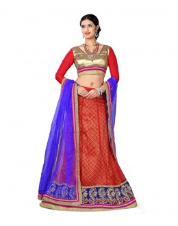 Designer Style Red Net Lehenga Choli - 117red