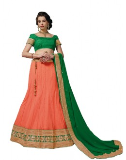 Designer Style  Soft Net Orange Lehenga Choli - 172B