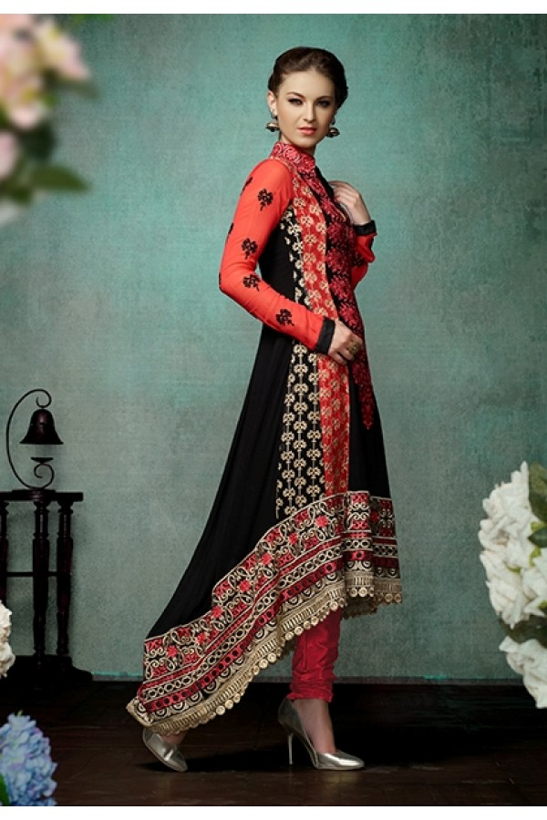 Party Wear Georgette Red & Black Anarkali Suit - FFP12-2022