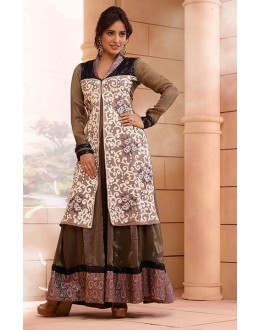 Georgette Dark Cream Anarkali Suit - FFP13-2030