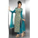 Casual Wear Georgette Aqua Blue Salwar Suit - FFP15-2046