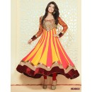 Georgette Red & Yellow Anarkali Suit - FFP4-1056