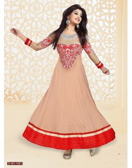 Party Wear Beige Anarkali Suit - FFP4-1061