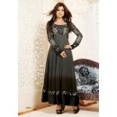 Party Wear Georgette Grey & Black Anarkali Suit - FFP5-1071