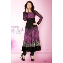 Party Wear Georgette Pink & Black Anarkali Suit - FFP5-1072