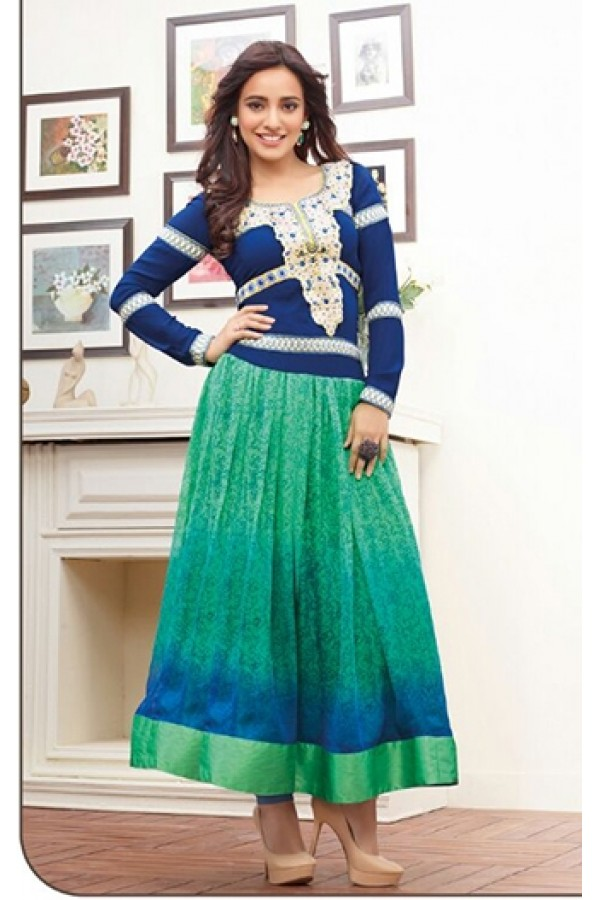 Wedding Wear Georgette Blue Anarkali Suit - FFP9-1096