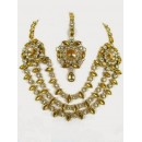 Ethnic Kundan Necklace Set With Mangtikka & Earrings - 67774 (SD-07)