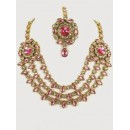 Ethnic Kundan Necklace Set With Mangtikka & Earrings - 67775
