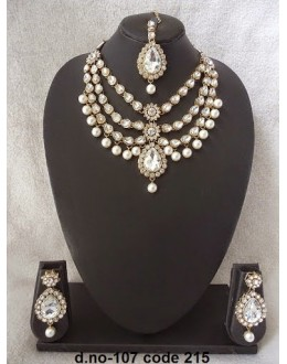 Ethnic Necklace Set With Mangtika & Earrings - 107