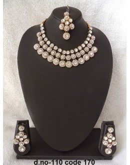 Ethnic Necklace Set With Mangtika & Earrings - 110