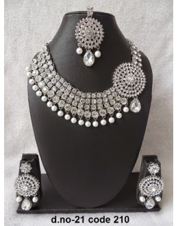 Ethnic Necklace Set With Mangtika & Earrings - 21