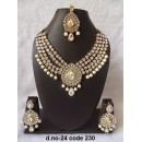 Ethnic Necklace Set With Mangtika & Earrings - 24