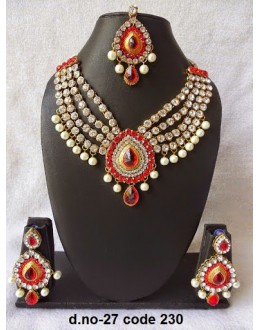Ethnic Necklace Set With Mangtika & Earrings - 27