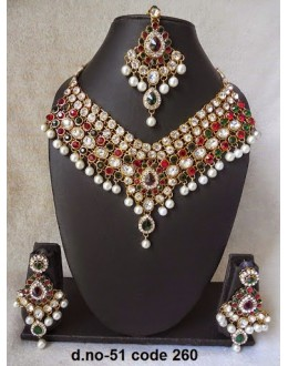 Ethnic Necklace Set With Mangtika & Earrings - 51