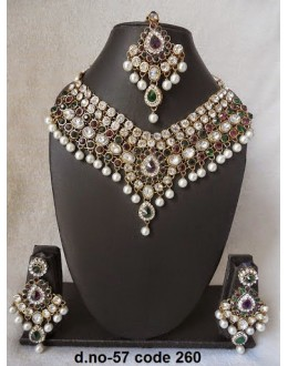 Ethnic Necklace Set With Mangtika & Earrings - 57