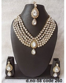 Ethnic Necklace Set With Mangtika & Earrings - 58