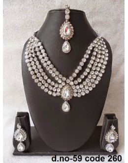 Ethnic Necklace Set With Mangtika & Earrings - 59