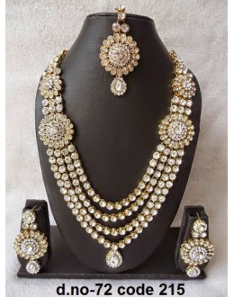 Ethnic Necklace Set With Mangtika & Earrings - 72