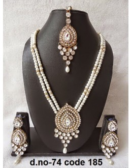 Ethnic Necklace Set With Mangtika & Earrings - 74