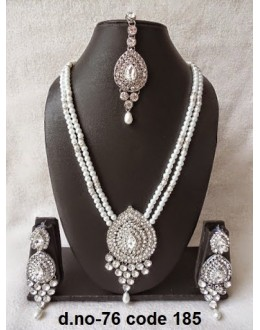 Ethnic Necklace Set With Mangtika & Earrings - 76