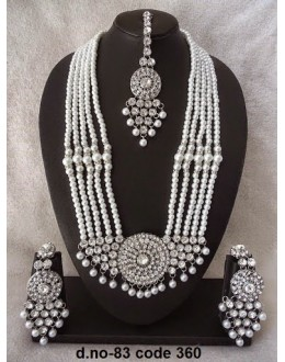 Ethnic Necklace Set With Mangtika & Earrings - 83