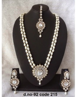 Ethnic Necklace Set With Mangtika & Earrings - 92