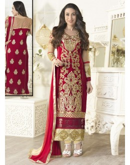 Eid Special Karishma Kapoor In Designer Red Heavy Embroidered Straight Salwar Suit-01(SD-Fiona)Karishma
