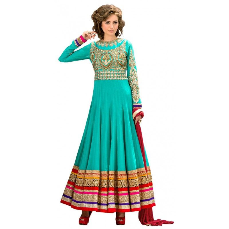 Designer Elegant Green Pure Georgette Embroidered Party Wear Anarkali Suit-11250 ( RT-Sakeena )